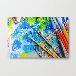 Palette And Brushes Metal Print