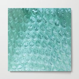 Aqua Bubble Wrap Metal Print