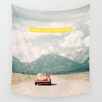 volkswagen Wall Tapestries featuring NEVER STOP EXPLORING V - vintage volkswagen bug by Leslee Mitchell