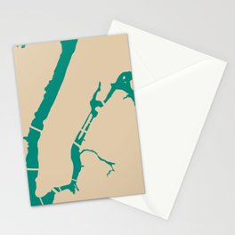 Manhattan NYC New York Minimalist Abstract in Mid Mod Beige and Teal Stationery Cards
