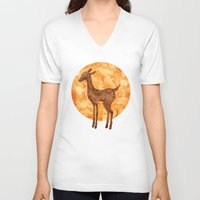 fawn V-neck T-shirts featuring Fawn  by FawnLorn