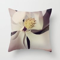 magnolia Throw Pillows featuring Magnolia by Deepti Munshaw