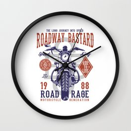 Roadway Bastard - Motocross, Motobike, Biker Stunts Wall Clock