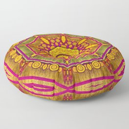 Sunshine Mandala and other golden planets Floor Pillow