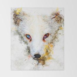 arctic fox bicolor eyes ws std Throw Blanket