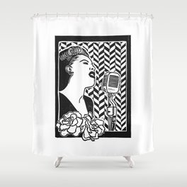 Lady Day (Billie Holiday block print blk) Shower Curtain
