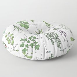 Herbs Collection Pattern Floor Pillow