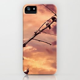 Picturly Purple Sky Leafless Branches and Birds iPhone Case