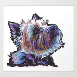 Fun Cairn Terrier Dog Portrait bright colorful Pop Art Painting by LEA Art Print