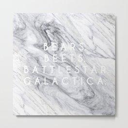 Bears Beets Battlestar Galactica (Marble) Metal Print