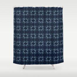 Indigo Tie Dye Batik  Hand Drawn Organic Shower Curtain