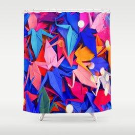 Senbazuru | pink and blues Shower Curtain