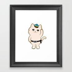 Animal Police - Cream cat Framed Art Print