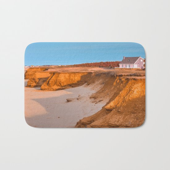 Thunder Cove Beach Cliffs - Golden Pastel Hour Bath Mat