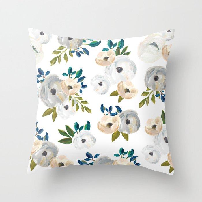 Sweet Blooms - Blue & Cream Throw Pillow