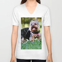 yorkie V-neck T-shirts featuring Darling Yorkie by IowaShots