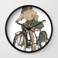 pinup Wall Clocks featuring Pinup bike by yumifuji