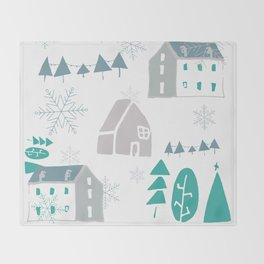 winter holiday houses Throw Blanket