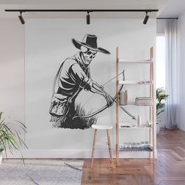Cowboy skeleton with crossbow - black and white - gothic skull cartoon - ghost silhouette Wall Mural