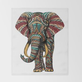 Ornate Elephant (Color Version) Throw Blanket