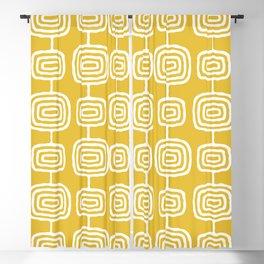 Mid Century Modern Atomic Rings Pattern Mustard Yellow Blackout Curtain
