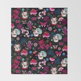 Lucky Cat Maneki Neko , Dragons and Koi fish Throw Blanket