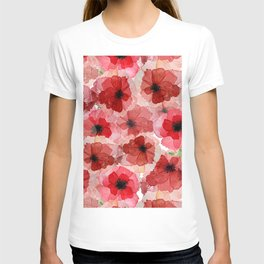 Pressed Poppy Blossom Pattern T-shirt