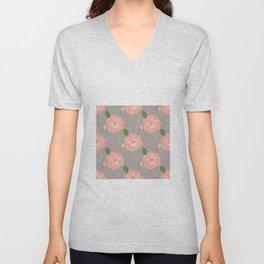 Elegant Pink & Gold Watercolor Roses Gray Design Unisex V-Neck