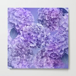 Painterly purple blue hydrangea flowers Metal Print