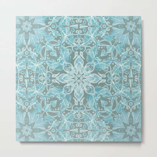 Soft Teal Blue & Grey hand drawn floral pattern Metal Print