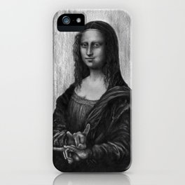 Mona Lisa With Sign Of The Horns iPhone Case