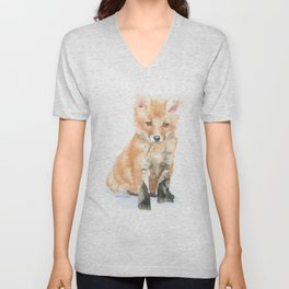 Baby Fox Watercolor Painting - Woodland Animal Unisex V-Neck