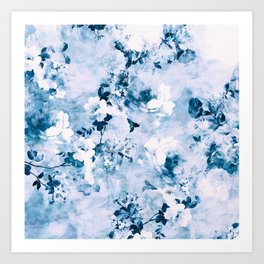 Modern chic elegant blue floral watercolor pattern Art Print