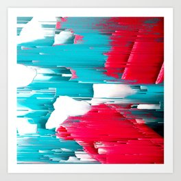 turquoise coral white abstract digital painting Art Print