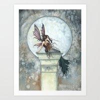Autumn Moon Fairy Fantasy Art Illustration Art Print