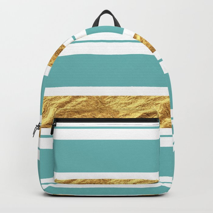 Gold and Aqua Blue Stripes Backpack