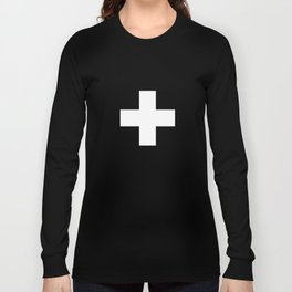 Swiss Cross Black and White Scandinavian Design for minimalism home room wall decor art apartment Long Sleeve T-shirt