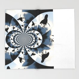 Silhouette Butterflies  Throw Blanket