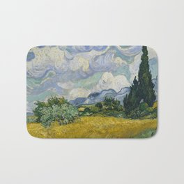 Wheat Field with Cypresses(1889) Bath Mat
