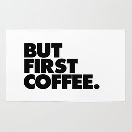 But First Coffee black-white typographic poster design modern home decor canvas wall art Rug