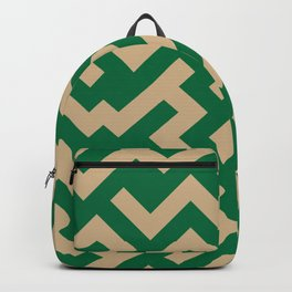 Tan Brown and Cadmium Green Diagonal Labyrinth Backpack