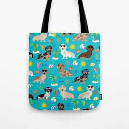 Dachshunds beach summer tropical vacation weener dogs doxie gifts Tote Bag