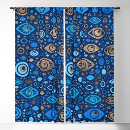 Greek Evil Eye pattern Blues and Gold Blackout Curtain