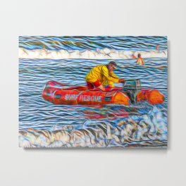 Abstract Surf rescue boat in action Metal Print