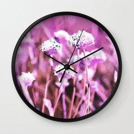Beach Flowers Pink Wall Clock