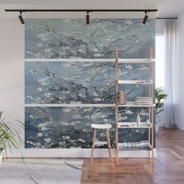 Vincent Van Gogh : Almond Blossoms Panel Art Blue Steel Teal Wall Mural