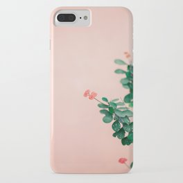 Floral photography print   Green on coral   Botanical photo art iPhone Case
