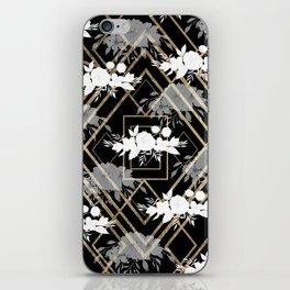 Geometrical faux gold black white floral pattern iPhone Skin