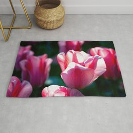 Pink Tulips And Green Grass Rug