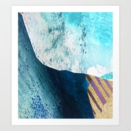 Pieces [1]: an abstract mixed-media collage in blues, purple, and gold Art Print